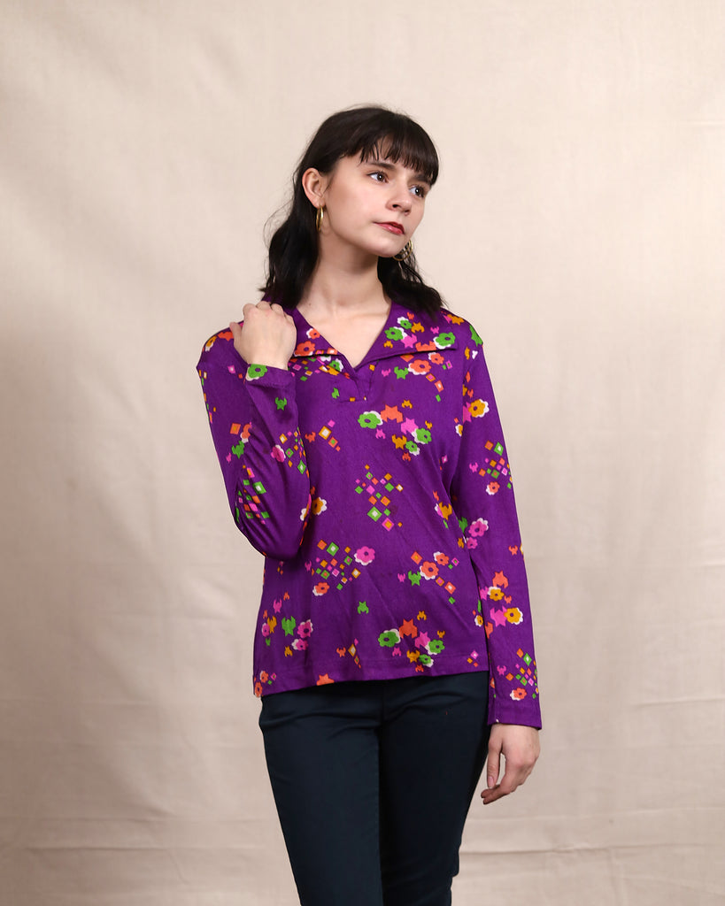Vintage Purple Patterned Blouse