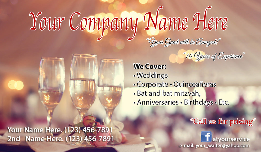 Banquet Server Business Cards 04
