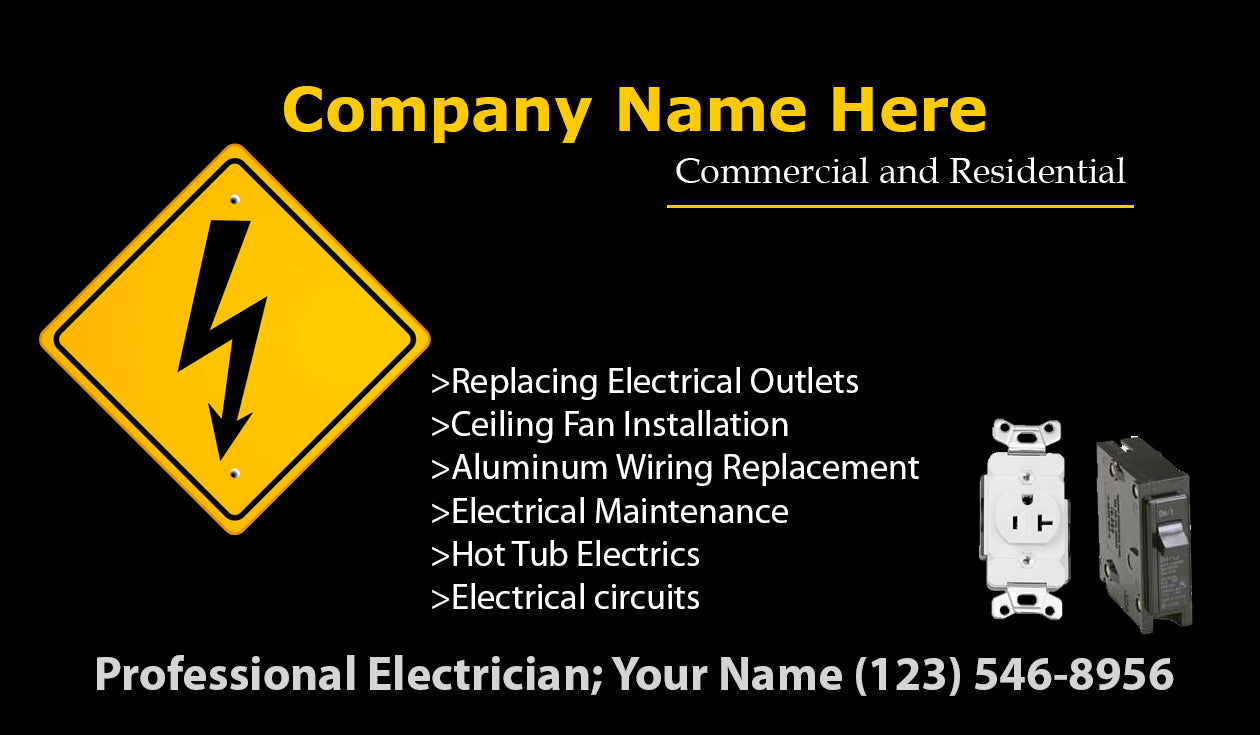 Electrician Business Cards 09 Mariposa Printing Aluminum Wiring Hazards Load Image Into Gallery Viewer