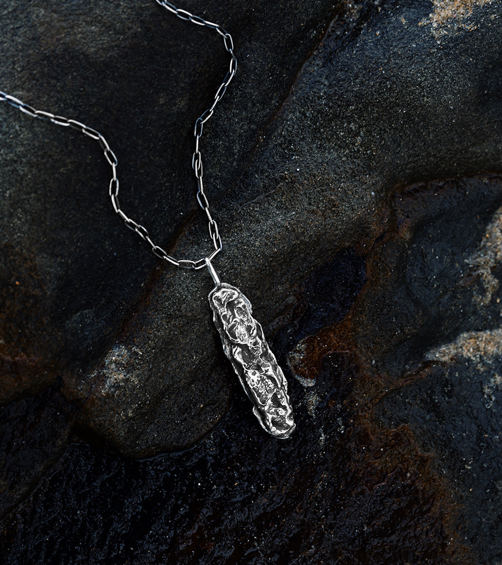 Alicia Hannah Naomi - Sterling Silver Textured Surge Pendant - Undertow Collection - Image by Reece Hobbins