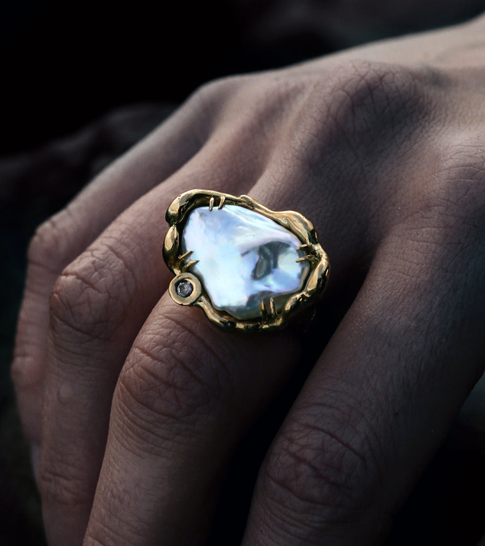Alicia Hannah Naomi - 18ct Yellow Gold Baroque Pearl Diamond Euphoria Ring - Undertow Collection - Image by Reece Hobbins