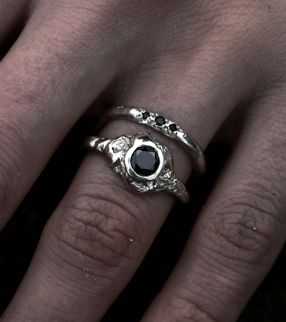 Alicia Hannah Naomi - 9ct White Gold Ebb Engagement Ring Black Diamond FlowUndertow Collection - Image by Reece Hobbins