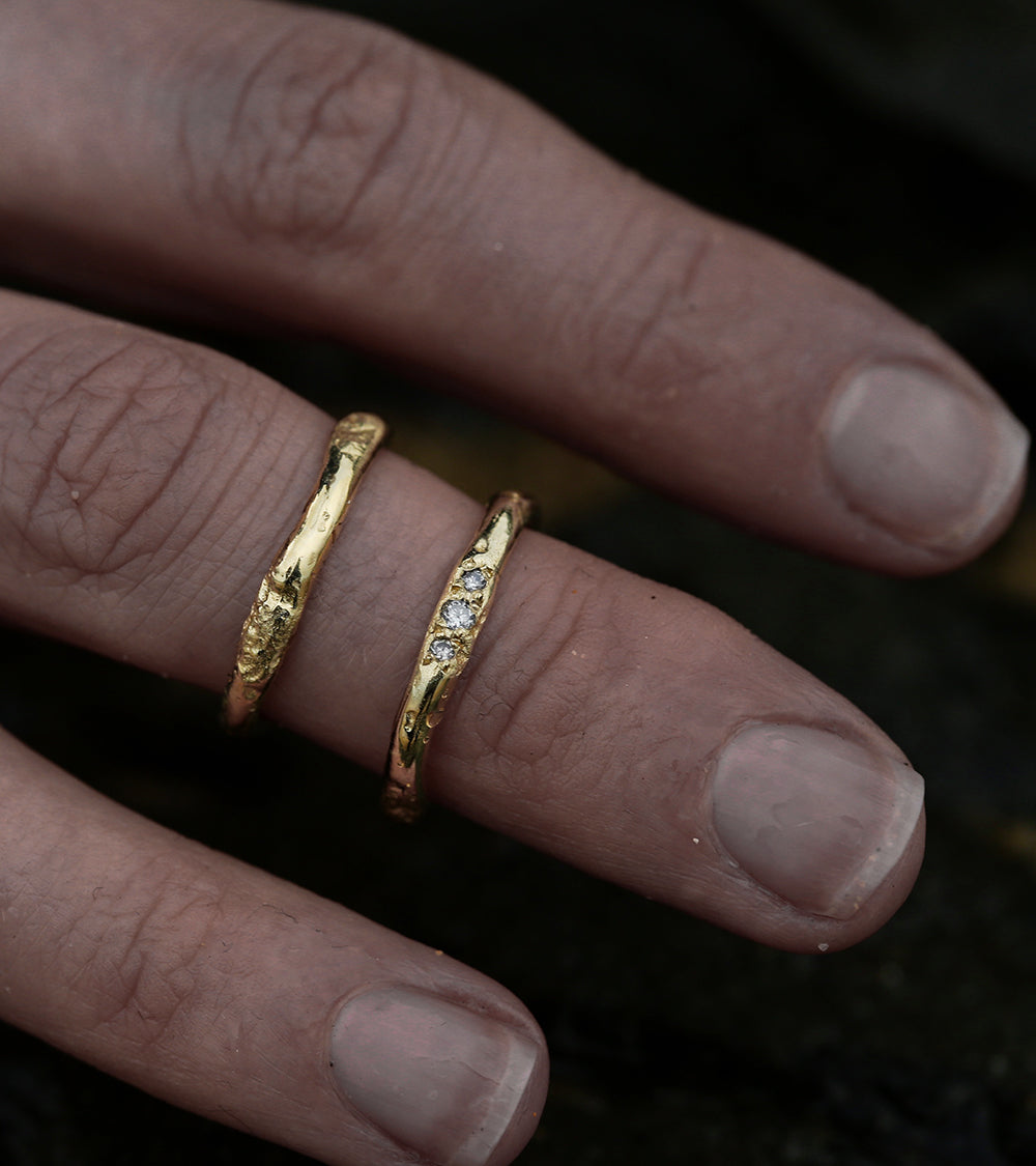 Alicia Hannah Naomi - 9ct Yellow Gold Flow Rings Diamond - Undertow Collection - Image by Reece Hobbins