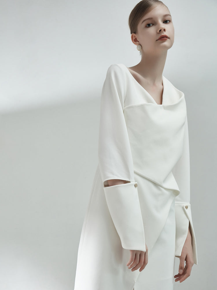 Asymmetrical 3-D Fold Dress