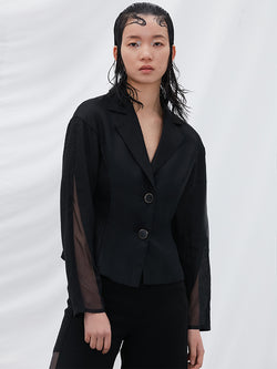 Mesh Panel Waisted Outerwear
