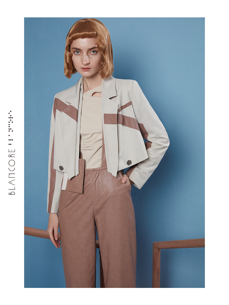 LINE SPLIT CROPPED JACKET