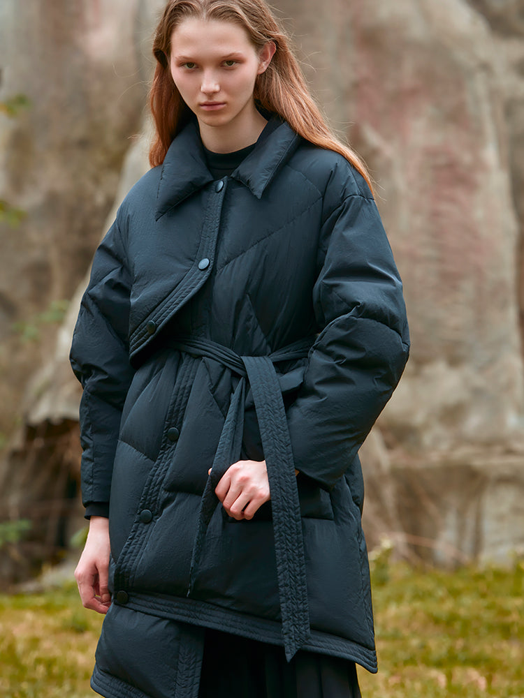 SLANT PLACKET PUFFER DOWN JACKET