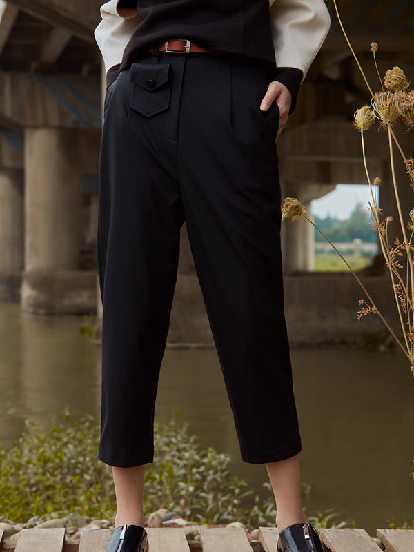 HIGH WAIST LEATHER TROUSER WITH BELT