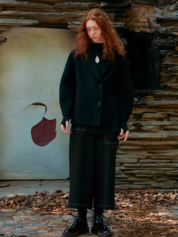 DECONSTRUCTED ASMMETRICAL WOOL COAT