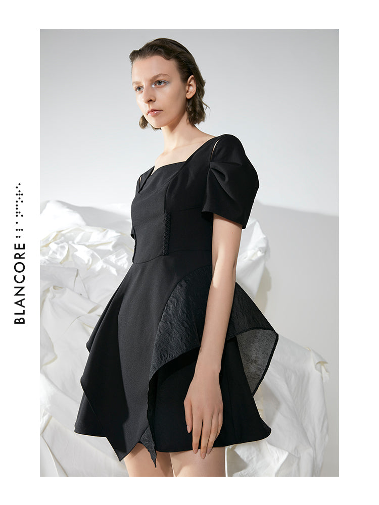 SQUARE COLLAR WAISTED A-SHAPE DRESS