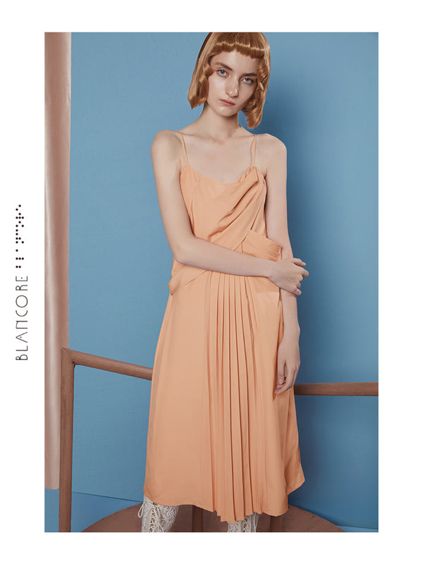 INTERSPERSED PLEATED SLIP DRESS