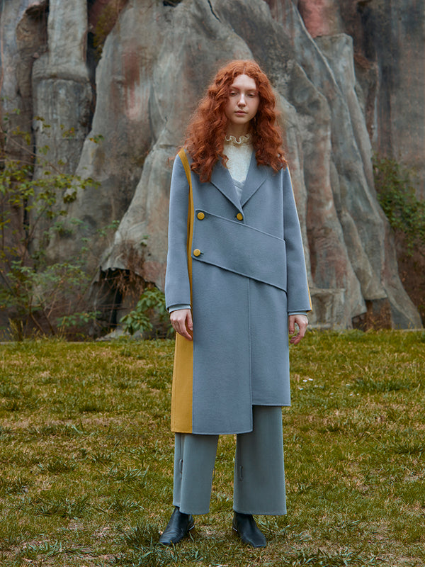 COLOR BLOCK ASYMMETRICAL WOOL COAT