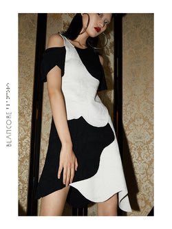 ASYMMETRICAL COLOR BLOCK JACQUARD SUIT