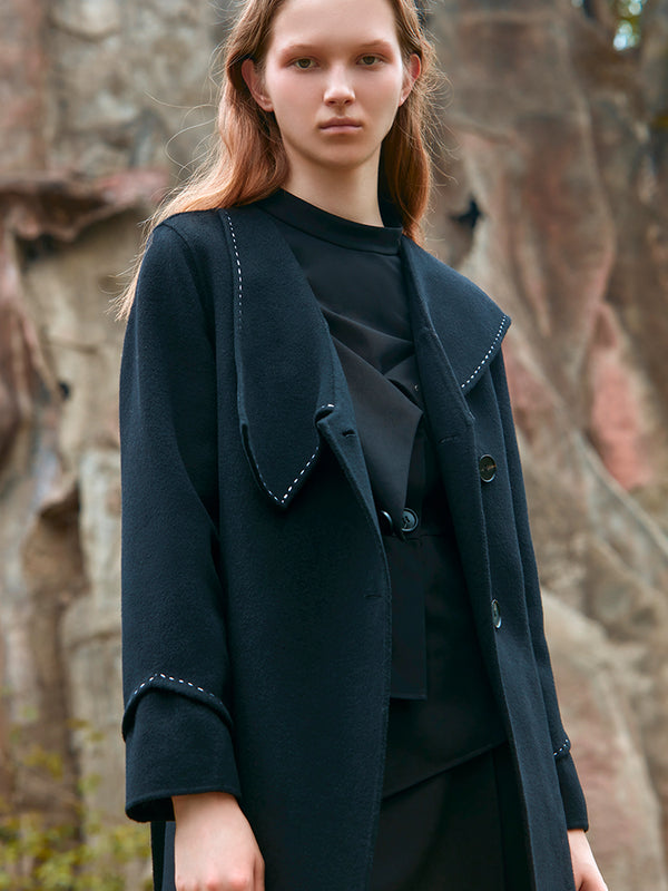 GEOMETRIC ASYMMETRICAL COLLAR WOOL COAT