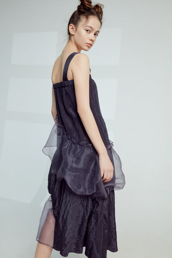 Asymmetric Mesh Panel Slip Dress