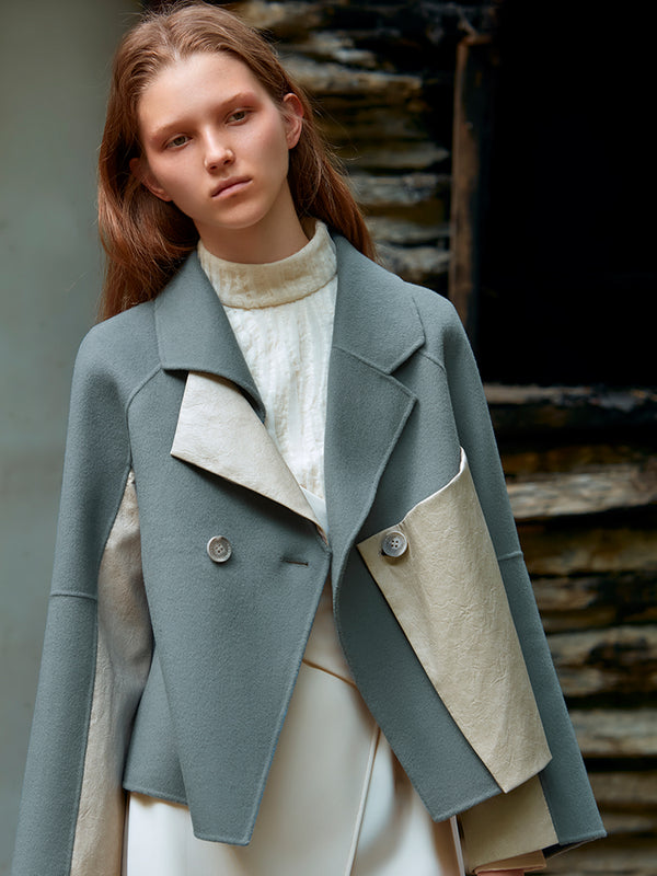 COLOR BLOCK FEATHER PANELED WOOL COAT