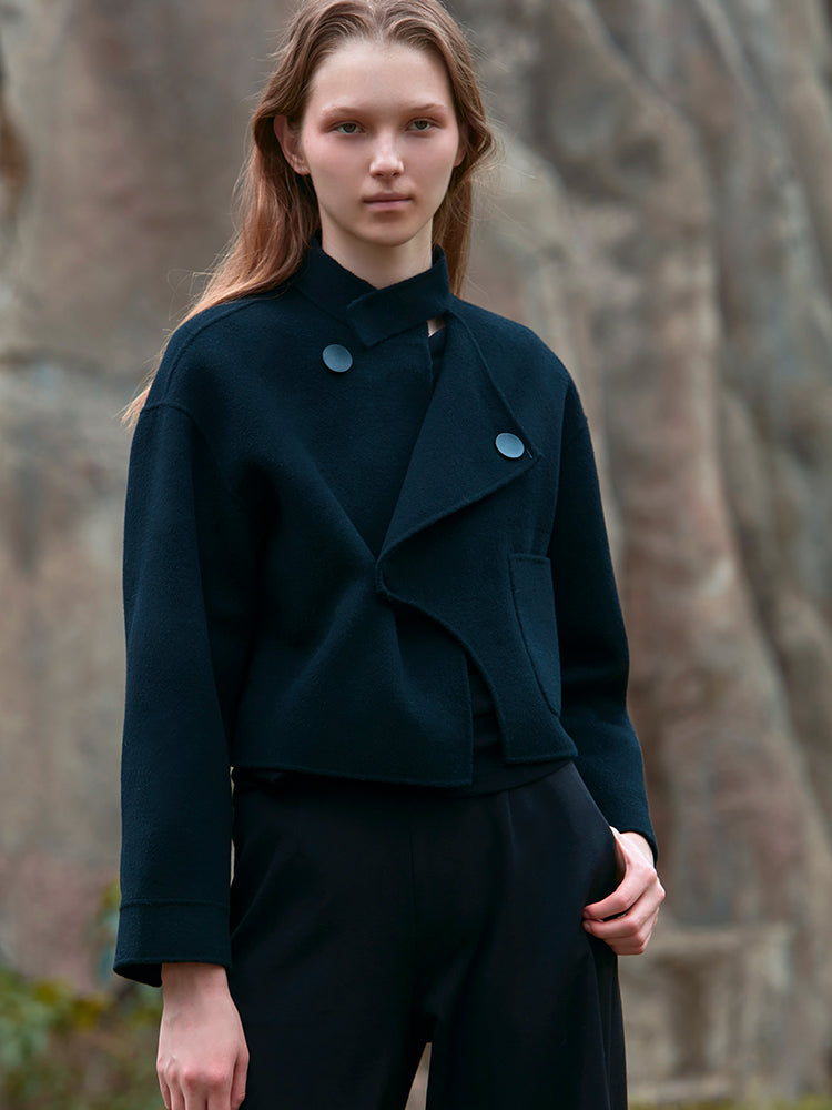 DECONSTRUCTED DOUBLE FACED WOOL COAT