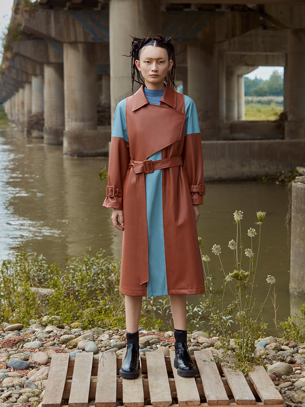 COLOR BLOCK LEATHER TRENCH COAT