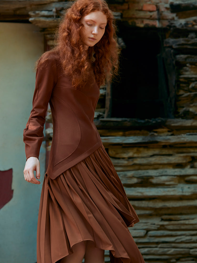 CURVED STITCHING KINTTED DRESS