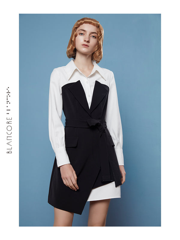 V-NECK COLLAR BLAZER STYLE DRESS
