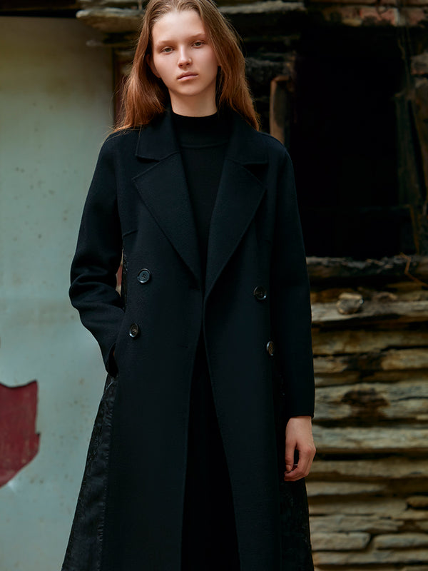 MESH PANELED WAISTED WOOL COAT