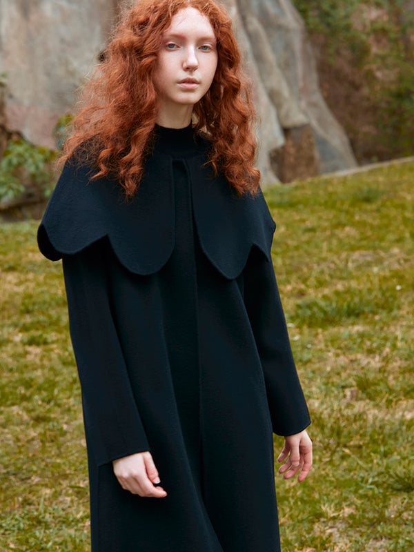 PETAL COLLAR DOUBLE FACED WOOL COAT
