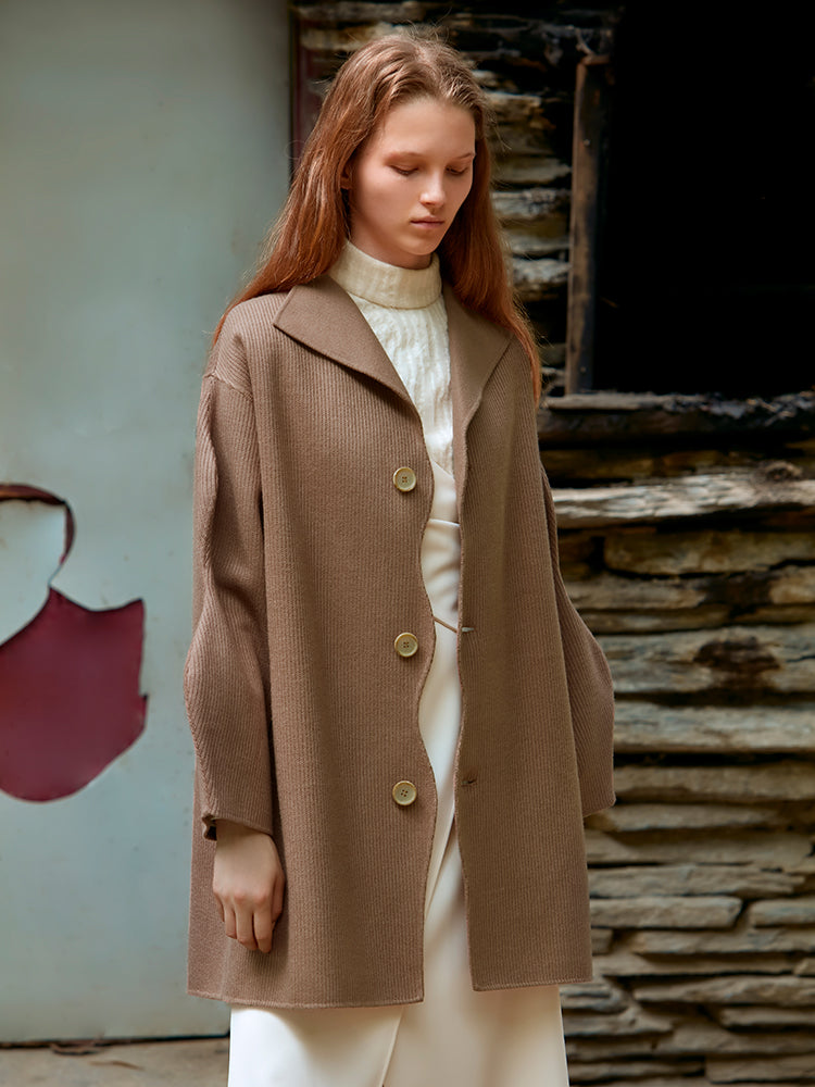 KNITTED DOUBLE FACED WOOL COAT(DARK BROWN)