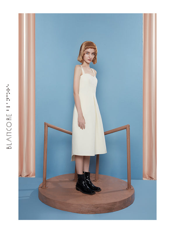 COCCON-SHAPED SUSPENDER DRESS