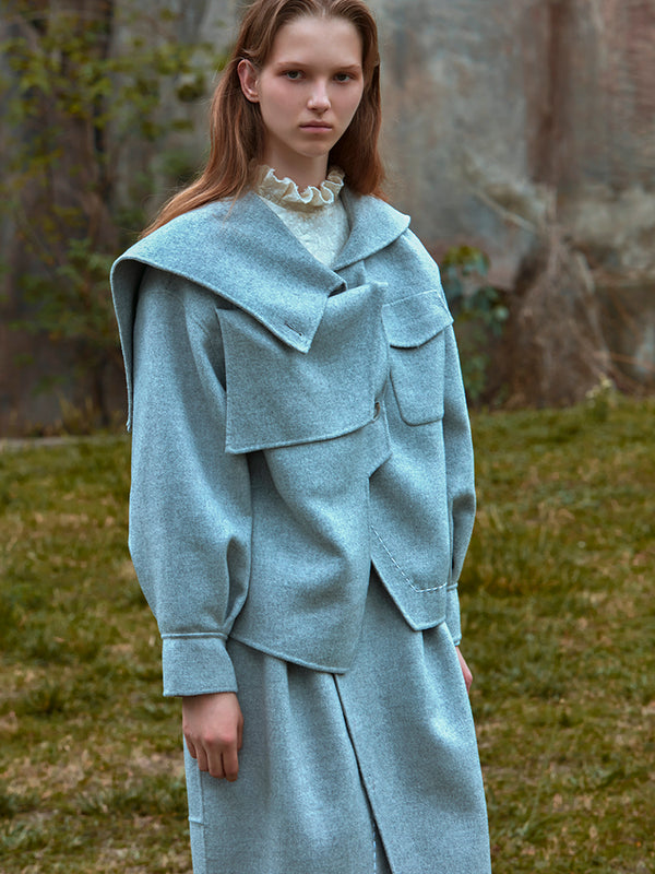 DECONSTRUCTED ASYMMETRICAL HOODED WOOL COAT