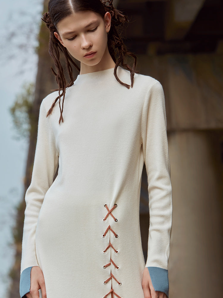 HIGH SPLIT DRAWSTRING KNIT SUIT