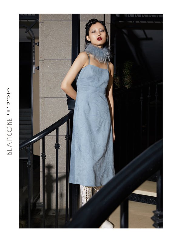 QUALITED SUEDE SUSPENDER DRESS