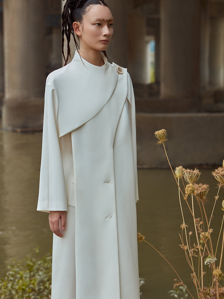PVC PANELLED TRENCH COAT WITH STANDING COLLAR