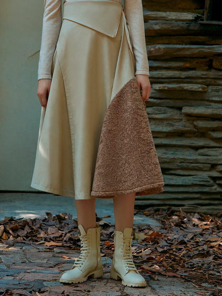 FUR PLANEL SKIRT WITH FOLDED WASIT