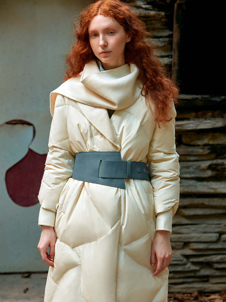 ASYMMETRIC PUFFER DOWN JACKET WITH BELT