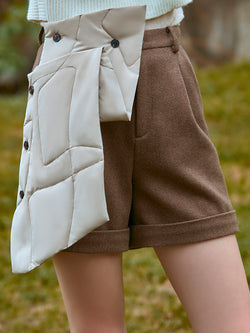 COLOR BLOCK SHORTS WITH FOLDED DETAIL