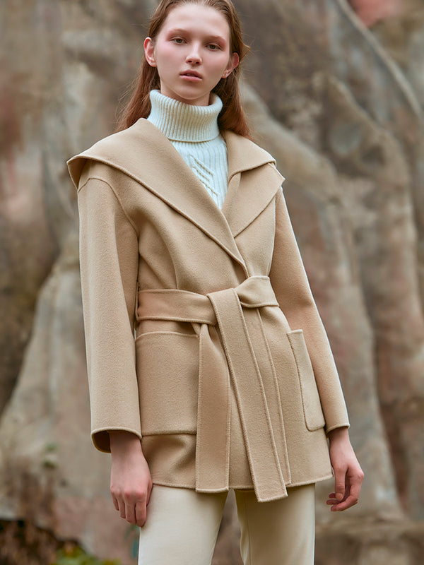 ASYMMETRICAL COLLAR WOOL COAT