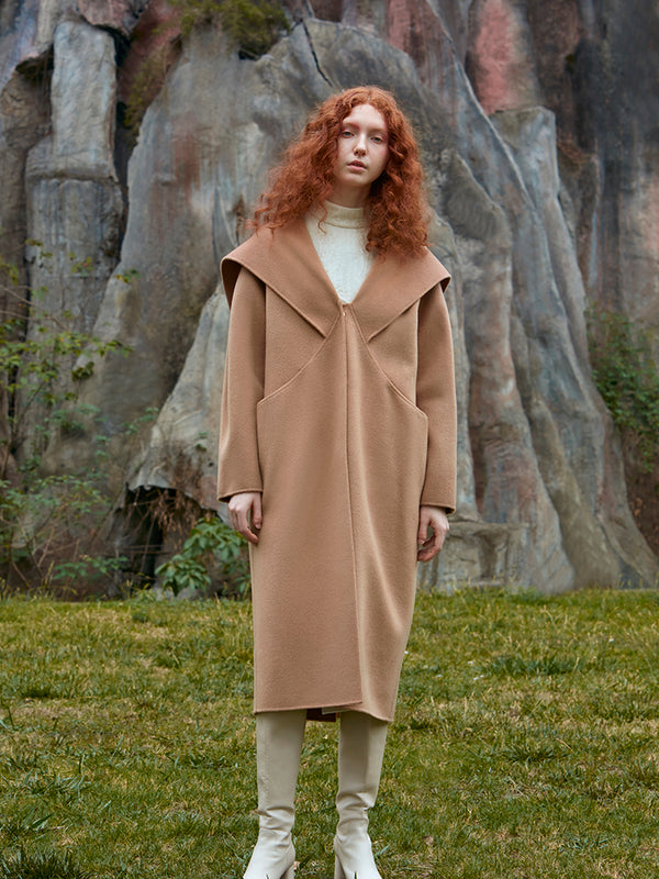 LAPEL HOODED WOOL COAT