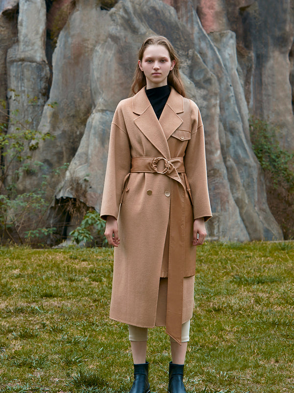 LEATHER PANELED WOOL COAT