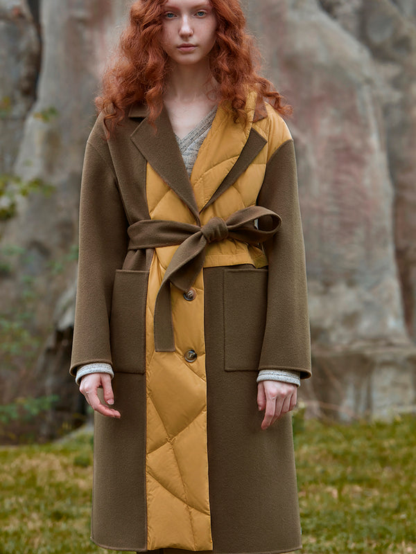 COLOR BLOCK PANELED WOOL COAT