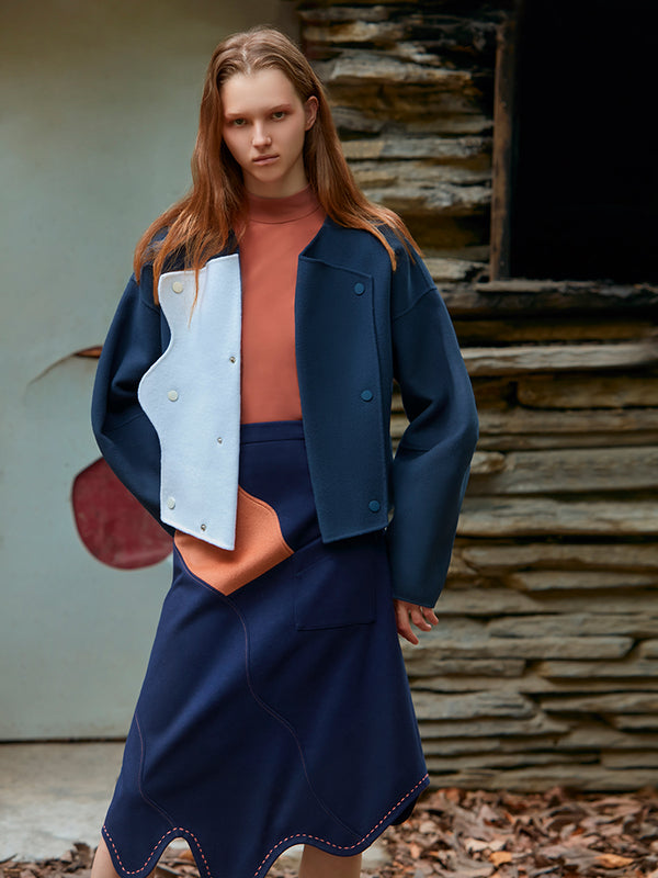 COLOR BLOCK CURVED LAPEL WOOL COAT