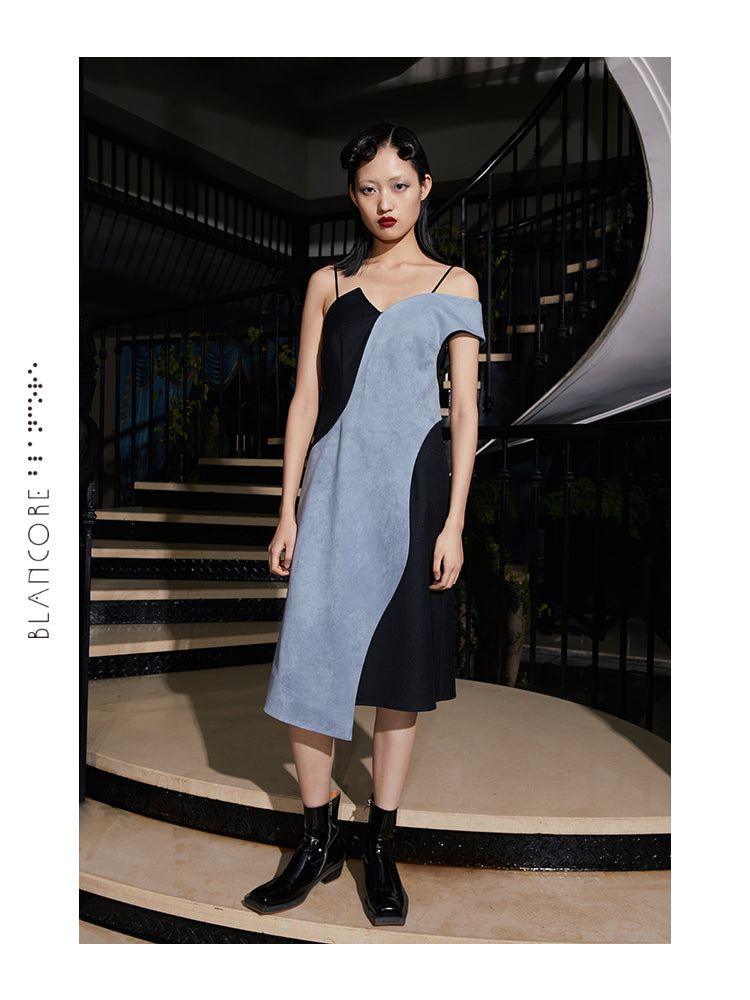 SIMPLE STYLE SUEDE SUSPENDER DRESS
