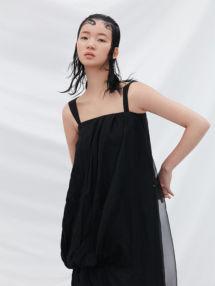 Asymmetrical Mesh Paneled Dress