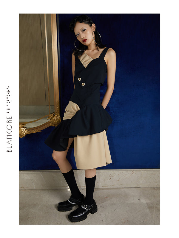 FAKE TWO-PIECE COLOR BLOCK SUSPENDER DRESS