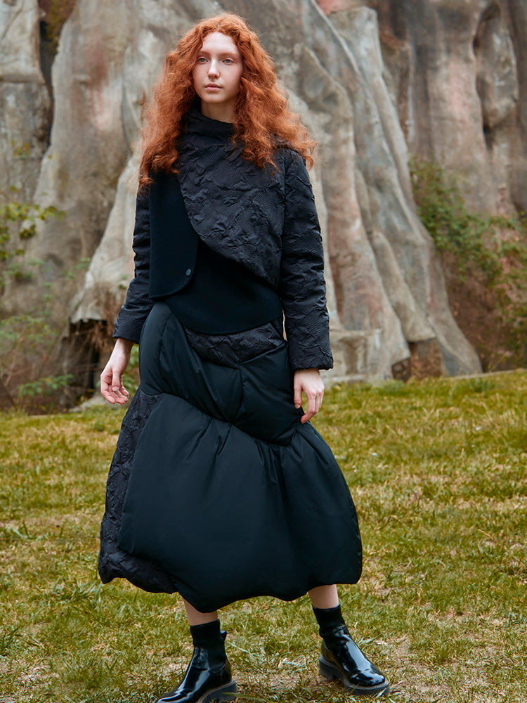 ASYMMETRICAL PANELED WOOL COAT