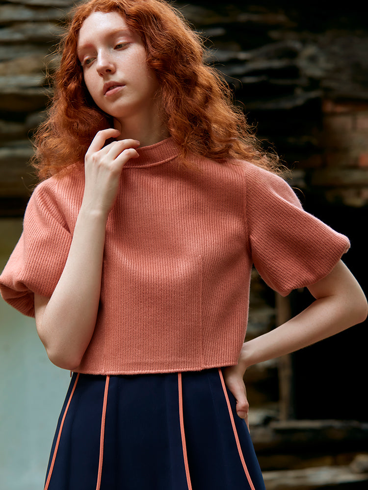 KNIT TOP WITH LANTERN SLEEVE