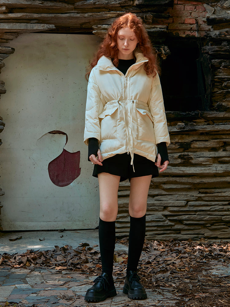 DRAWSTRING PUFFER JACKET WITH STAND COLLAR