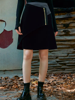 COLOR BLOCK VELVET SKIRT