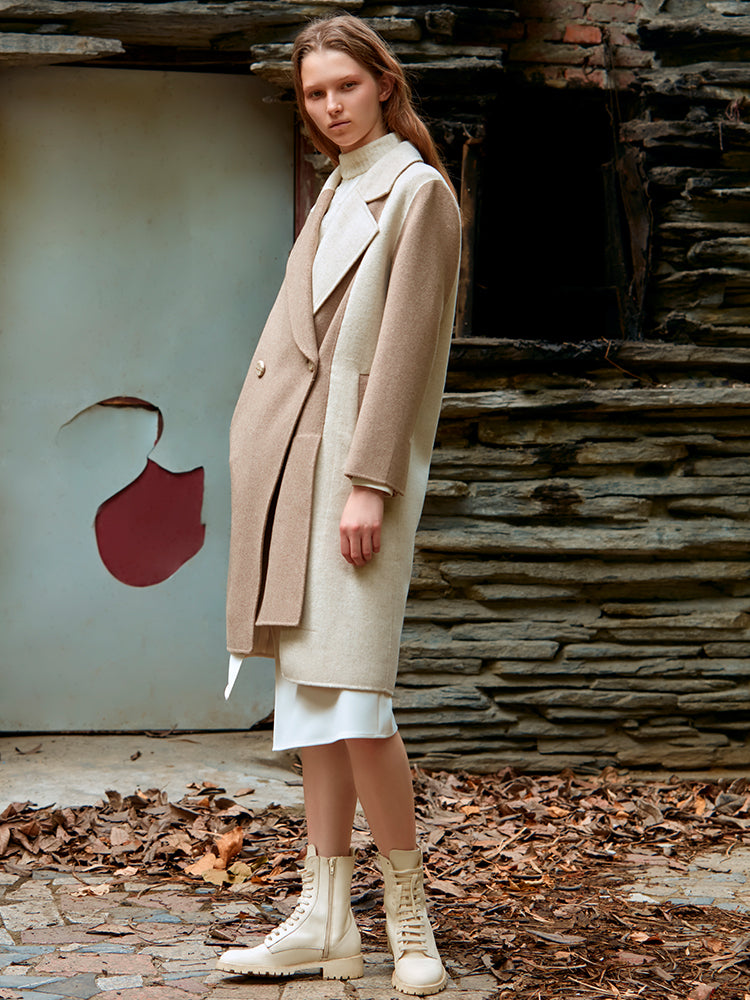 ASYMMETRICAL COLOR BLOCK WOOL COAT