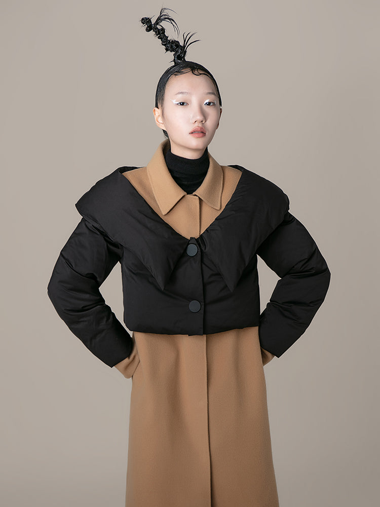 Color Block Overlaying Puffer Detail Coat