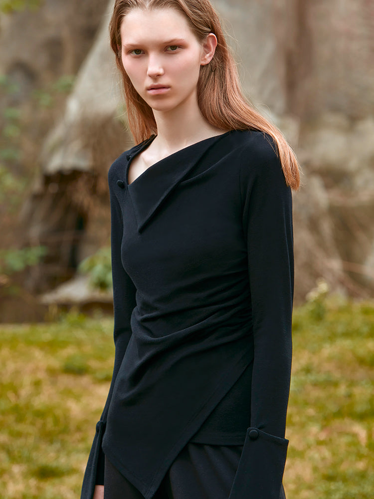 RUCHED TOP  (BLACK)